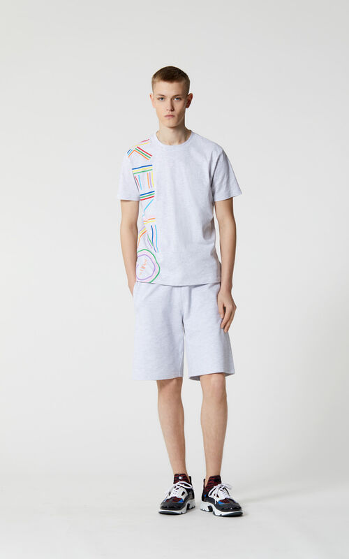 PALE GREY 'High Summer Capsule Collection' KENZO Logo t-shirt for men