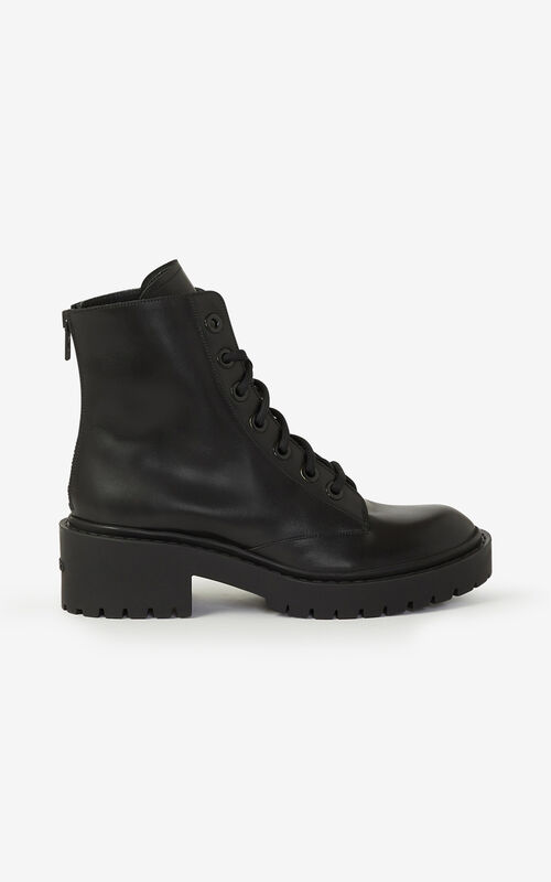 BLACK Lace-up Pike leather ankle boots  for unisex KENZO