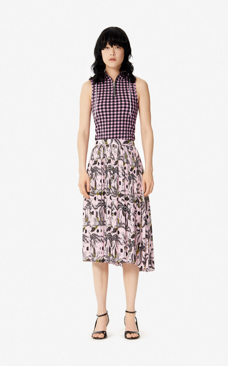 PASTEL PINK 'Flying Phoenix' pleated skirt for women KENZO
