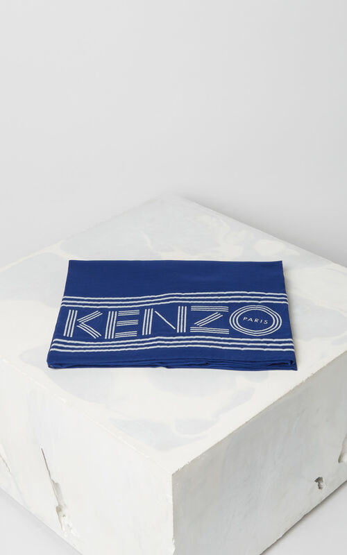 ELECTRIC BLUE KENZO logo cotton scarf for unisex