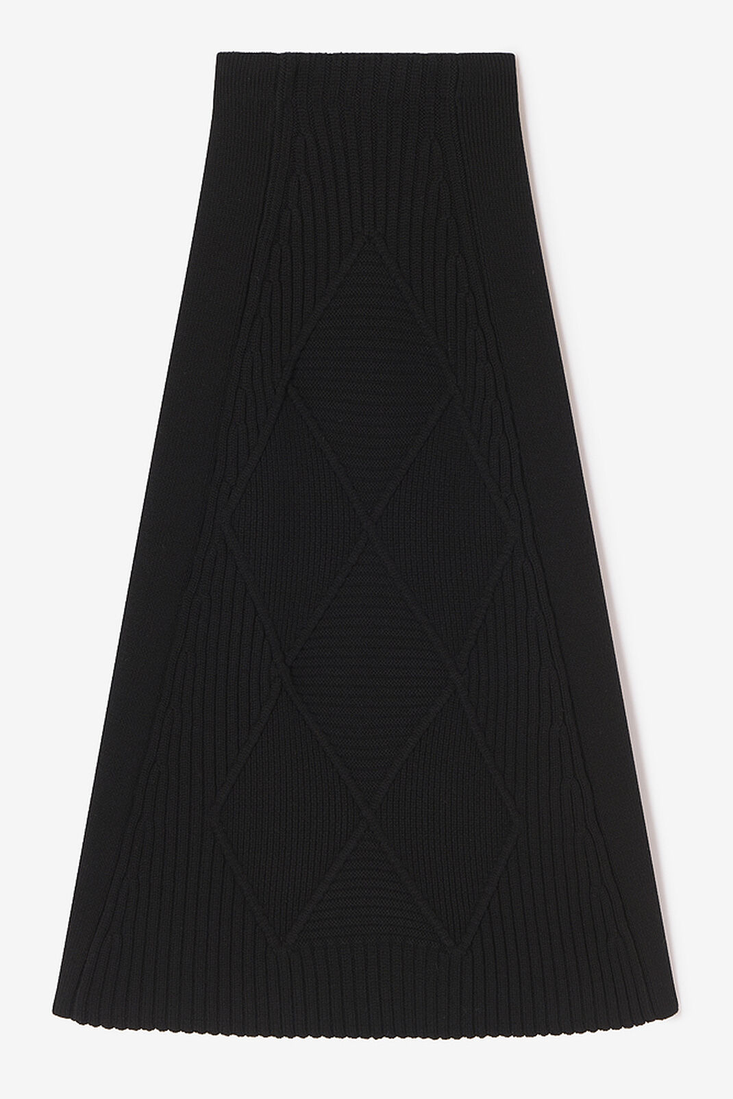 BLACK Knitted 'Argyll' midi skirt for women KENZO