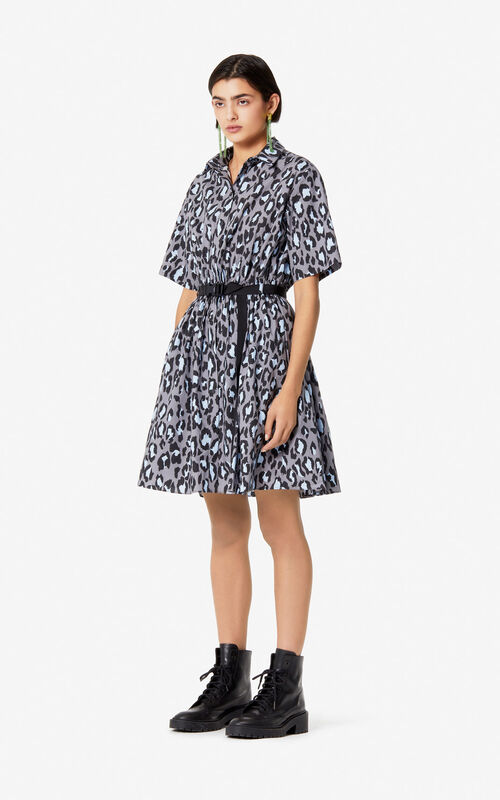 PALE GREY 'Leopard' shirt dress for women KENZO
