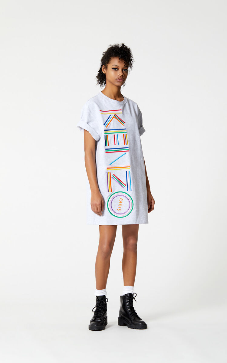 PALE GREY 'High Summer Capsule Collection' KENZO logo t-shirt dress for women