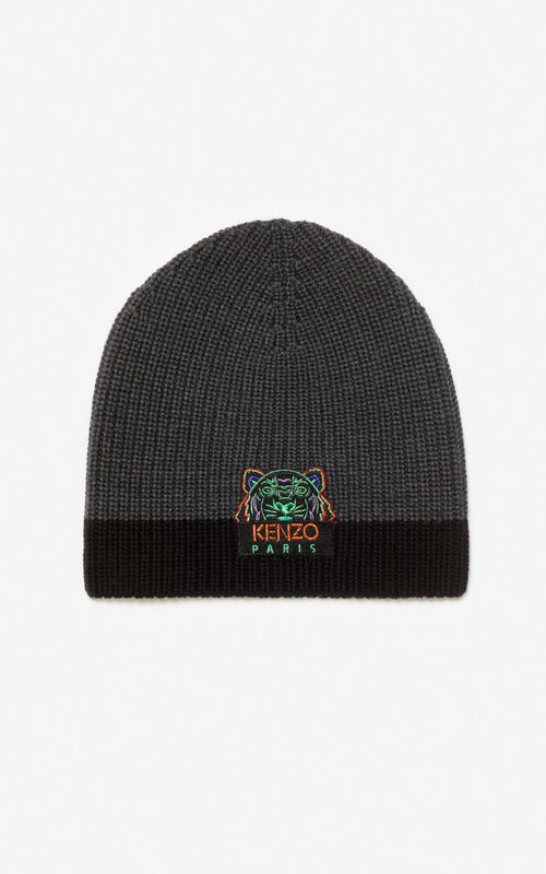 ANTHRACITE Two-tone Tiger knit cap for unisex KENZO