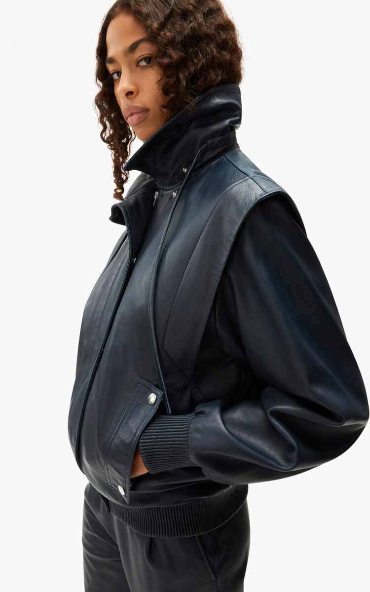 MIDNIGHT BLUE Smooth leather jacket for women KENZO