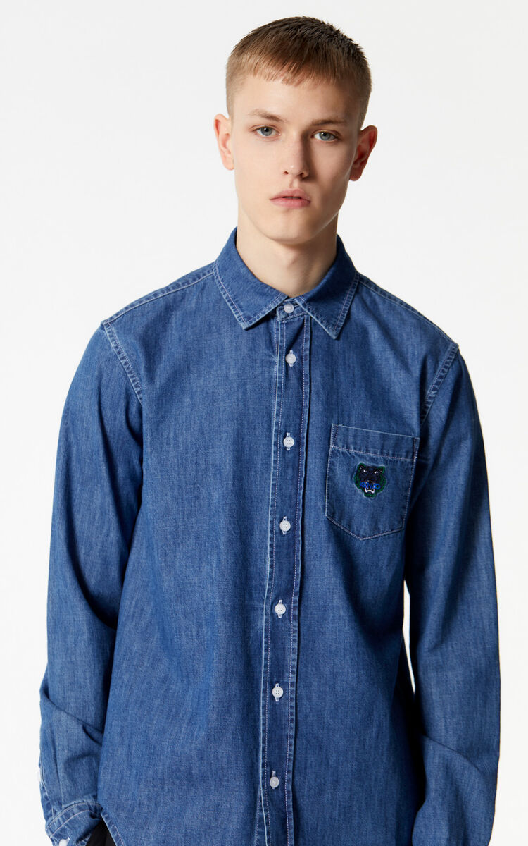 NAVY BLUE Tiger denim shirt for men KENZO
