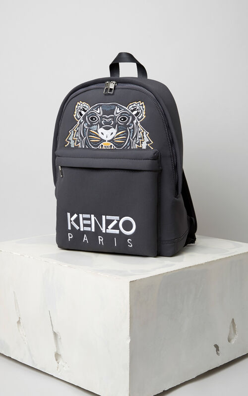 Large Neoprene Tiger backpack, ANTHRACITE, KENZO