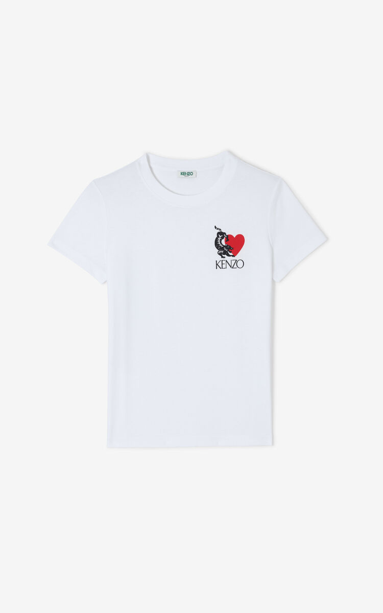WHITE 'Valentine's Day Capsule' 'Lucky Tiger' T-shirt for women KENZO