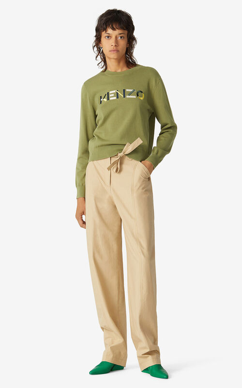 OLIVE Multicoloured KENZO Logo jumper for women