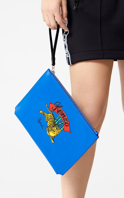 FRENCH BLUE A4 'Jumping Tiger' Clutch Bag for men KENZO