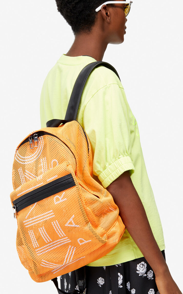 MEDIUM ORANGE Large KENZO Logo mesh backpack for unisex