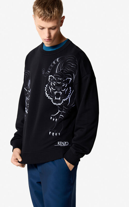 BLACK  Double Tiger  sweatshirt for men KENZO ... 7f318ea289e