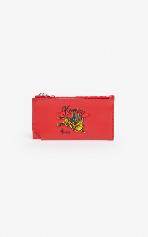 MEDIUM RED 'Jumping Tiger' Zipped leather card holder for men KENZO