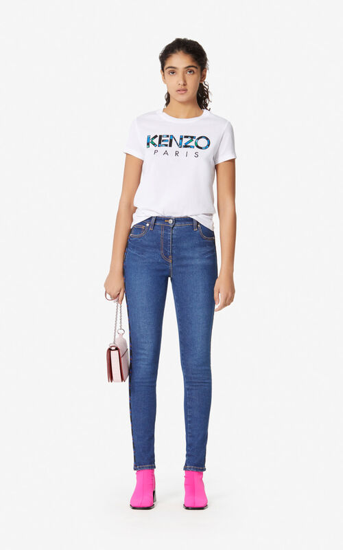 WHITE 'Peonies' KENZO Paris T-shirt for women