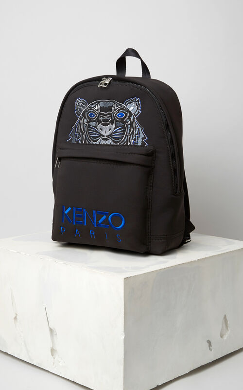 BLACK Large Neoprene Tiger backpack for women KENZO