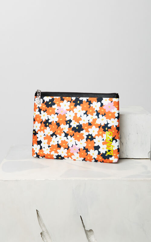 DEEP ORANGE 'Jackie Flowers' A4 clutch for women KENZO