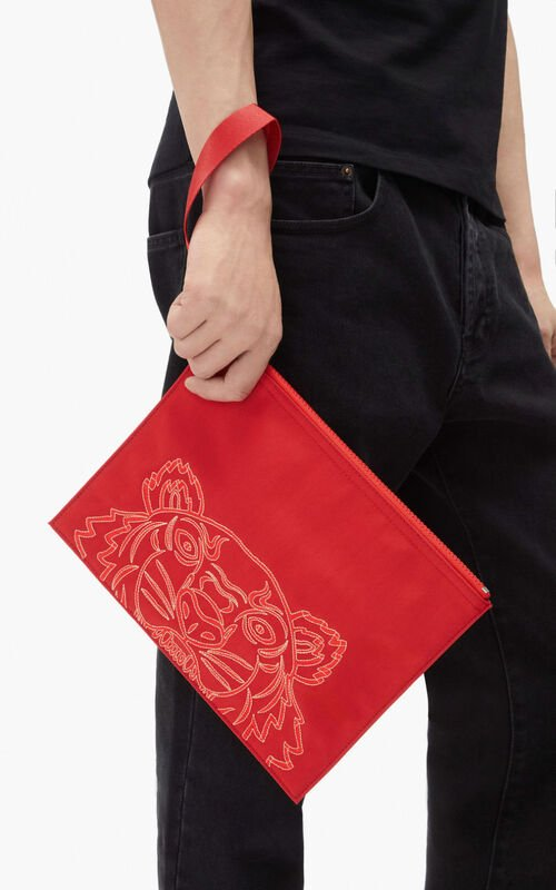RASPBERRY Large Kampus Tiger pouch for men KENZO