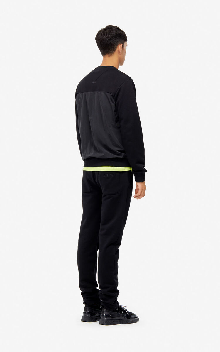 BLACK Bimaterial jogging trousers for men KENZO