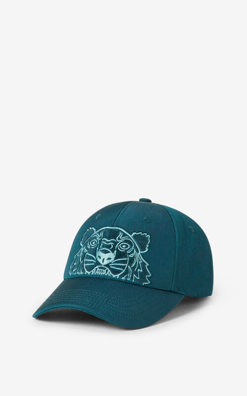 DUCK BLUE Kampus Tiger canvas baseball cap for women KENZO