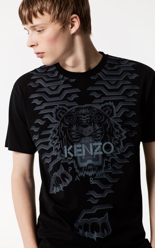 BLACK Geo Tiger T-shirt for men KENZO