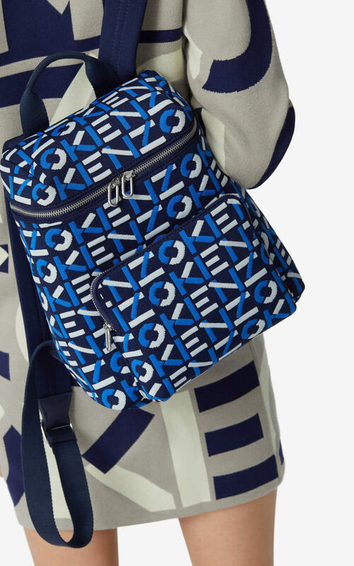 MIDNIGHT BLUE Monogrammed jacquard backpack for women KENZO