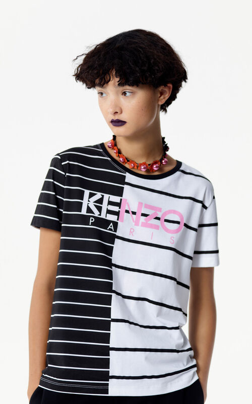 BLACK Stripe KENZO Paris t-shirt for women