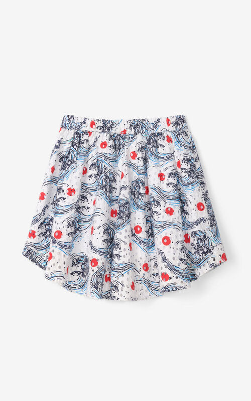 OFF WHITE Gathered skirt in English embroidery for women KENZO