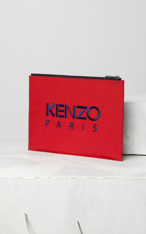 MEDIUM RED A4 Tiger Canvas clutch for unisex KENZO