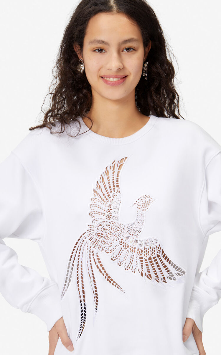 WHITE 'Flying Phoenix' sweatshirt for women KENZO