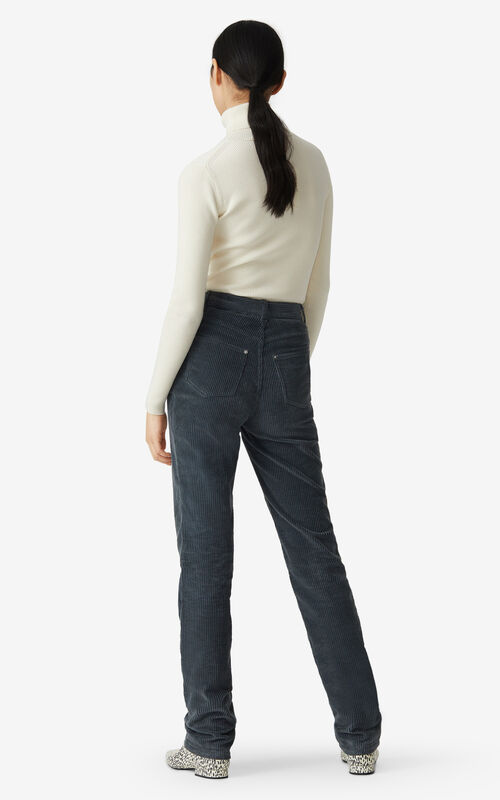 STONE GREY High-waisted straight-cut trousers for women KENZO