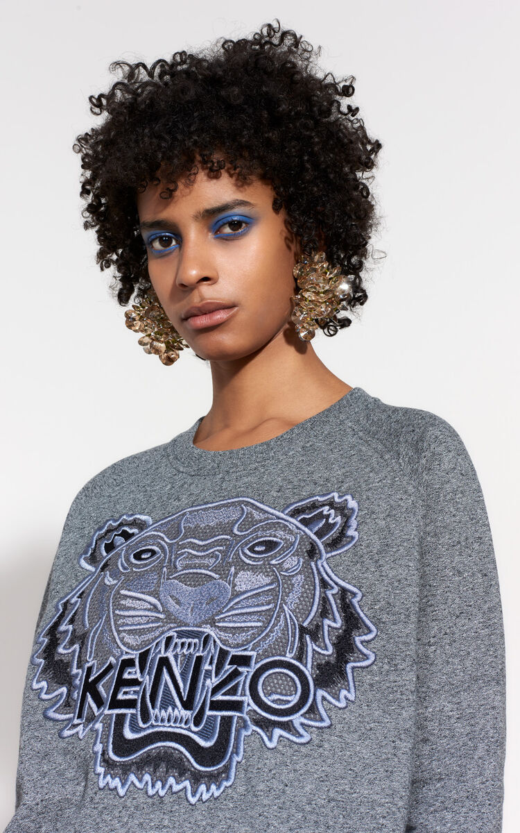 ANTHRACITE Mesh Tiger sweatshirt for women KENZO