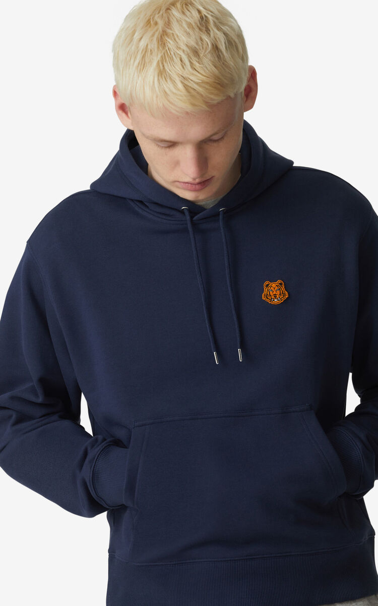 NAVY BLUE Tiger Crest hoodie for women KENZO