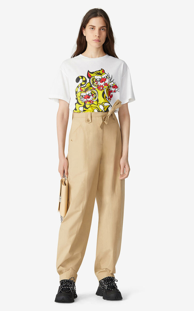 BEIGE Belted trousers for women KENZO