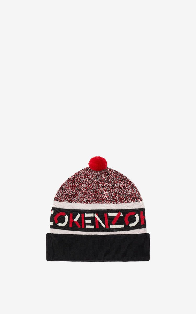 MEDIUM RED KENZO Sport jacquard beanie for unisex