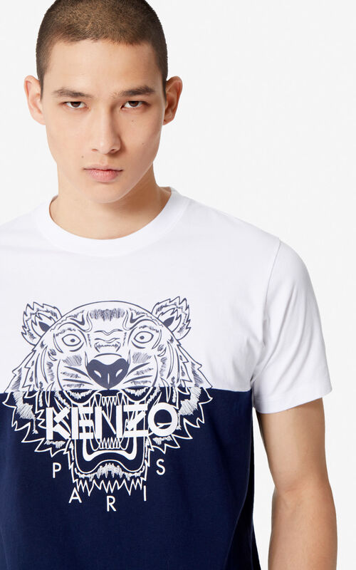 a57c07abcf60 MIDNIGHT BLUE 'Colorblock Tiger' t-shirt for men KENZO ...