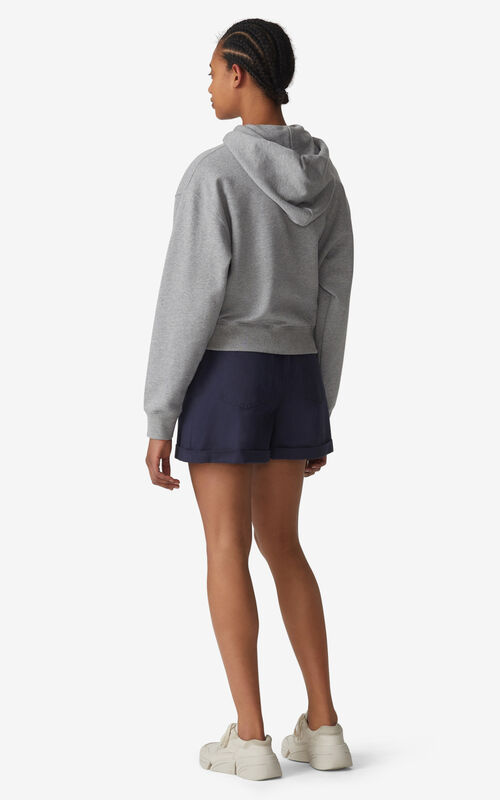 PEARL GREY Tiger Crest boxy hooded sweatshirt for women KENZO