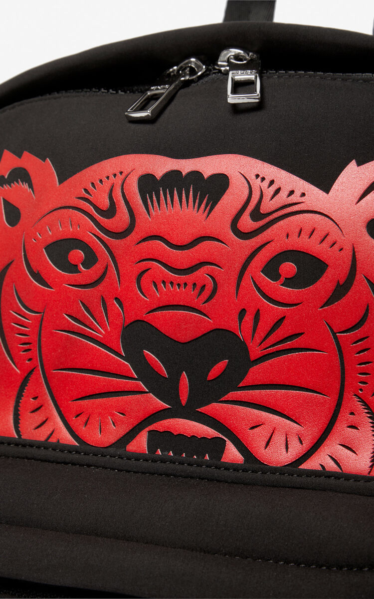 BLACK 'Chinese New Year Capsule' large Tiger backpack for unisex KENZO