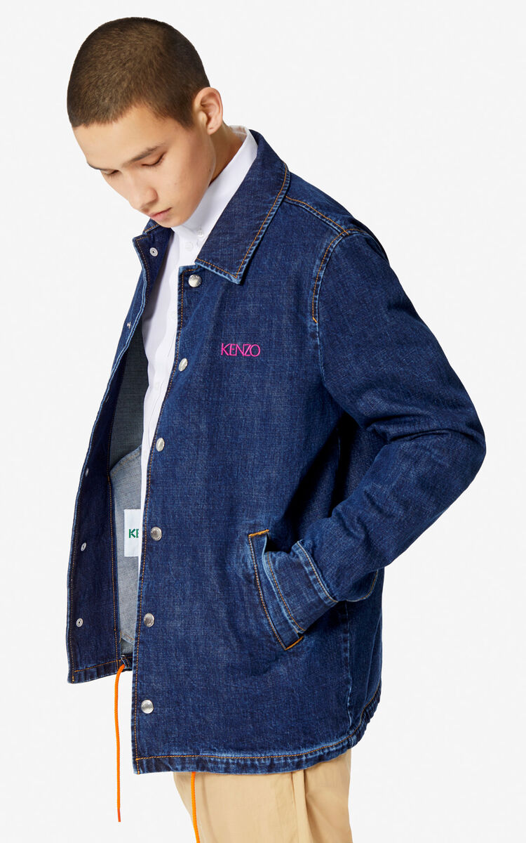 NAVY BLUE 'Square Logo' denim jacket for men KENZO