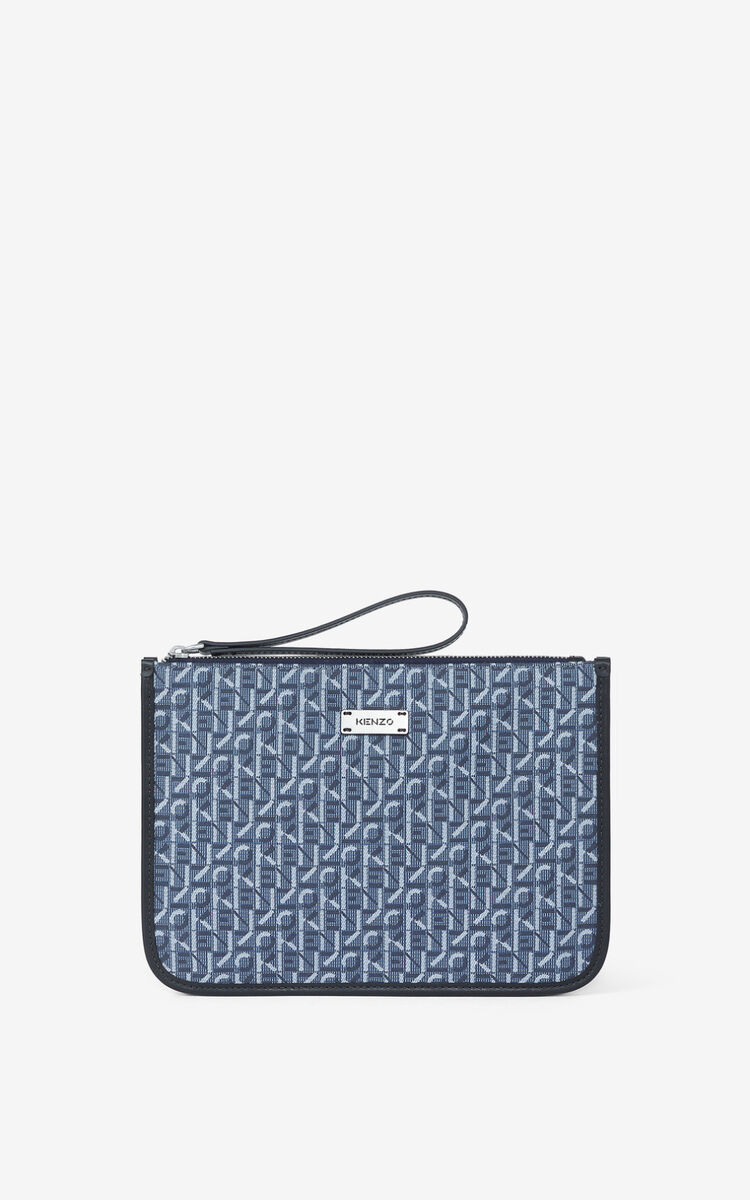 NAVY BLUE Jacquard Courier pouch with fob pocket for unisex KENZO