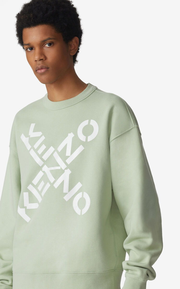 ALMOND GREEN KENZO Sport 'Big X' sweatshirt for men