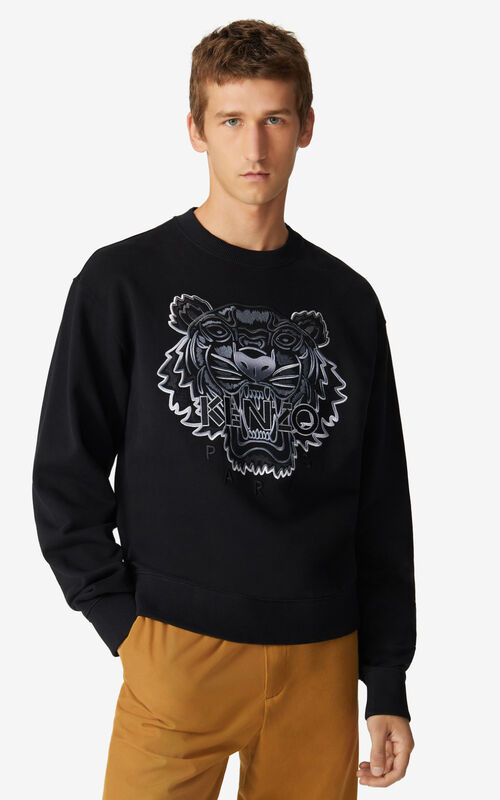 BLACK Tiger sweatshirt for men KENZO