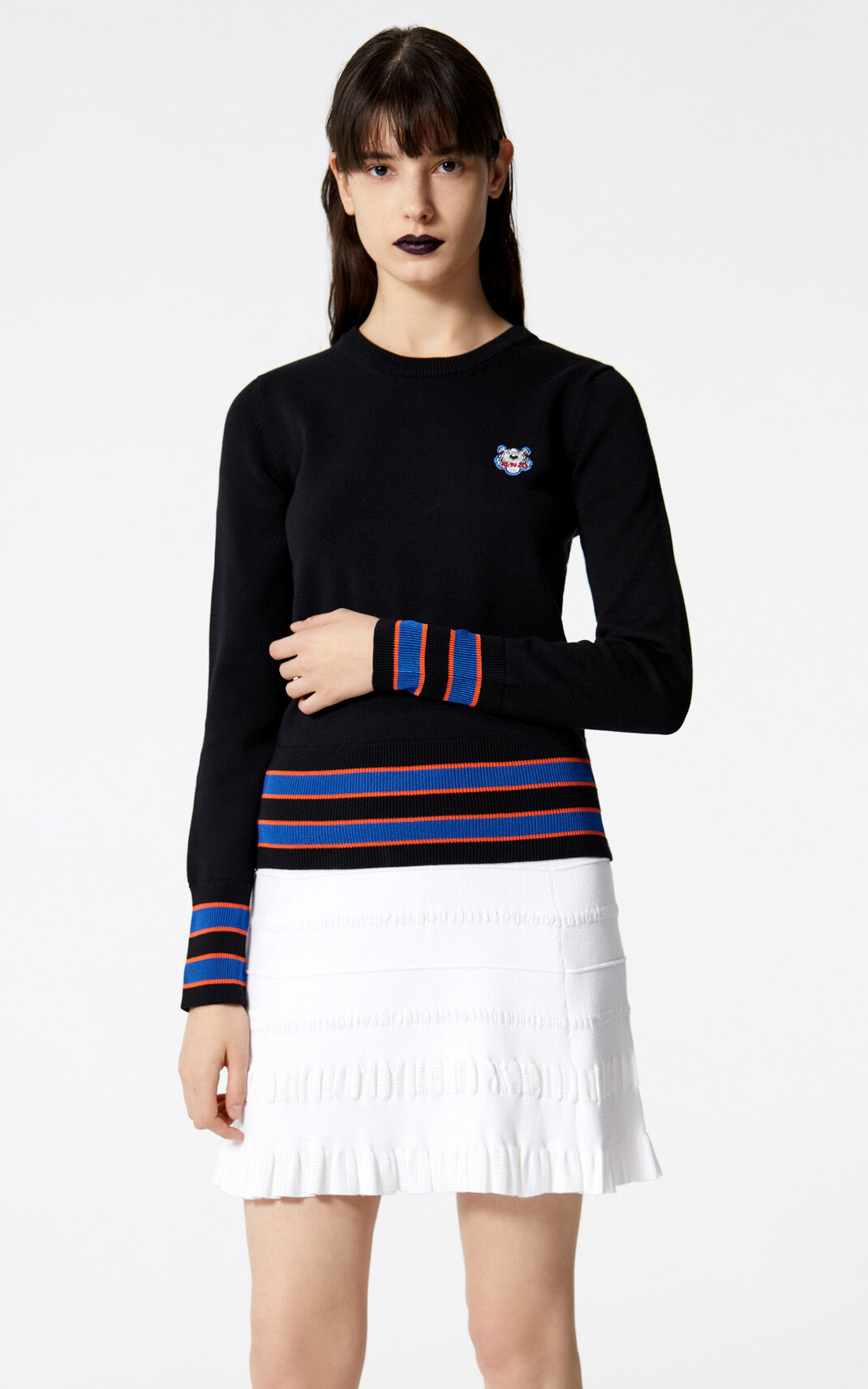 BLACK Two tone tiger jumper for women KENZO