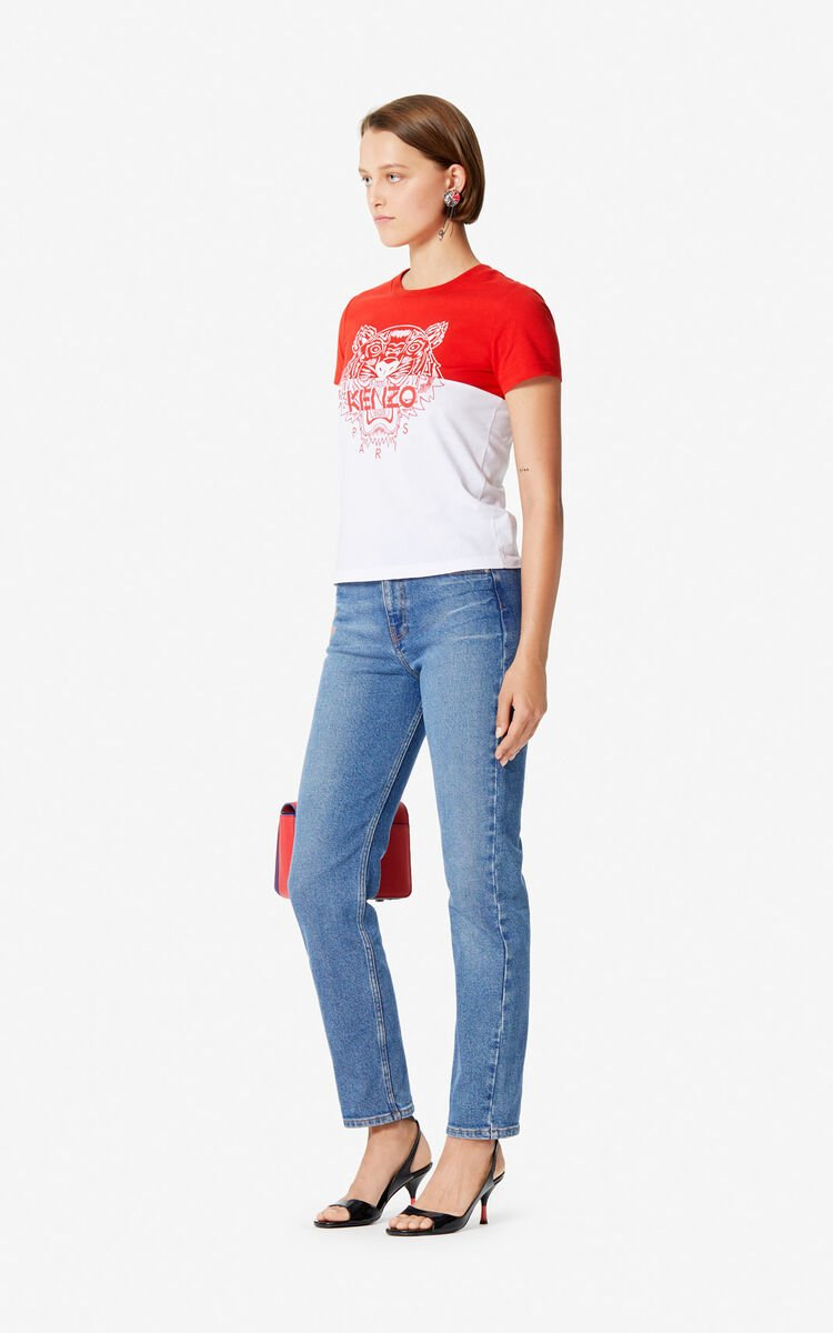 MEDIUM RED 'Colorblock Tiger' t-shirt for women KENZO
