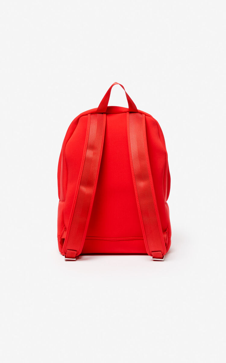 MEDIUM RED Large Neoprene Tiger backpack for men KENZO