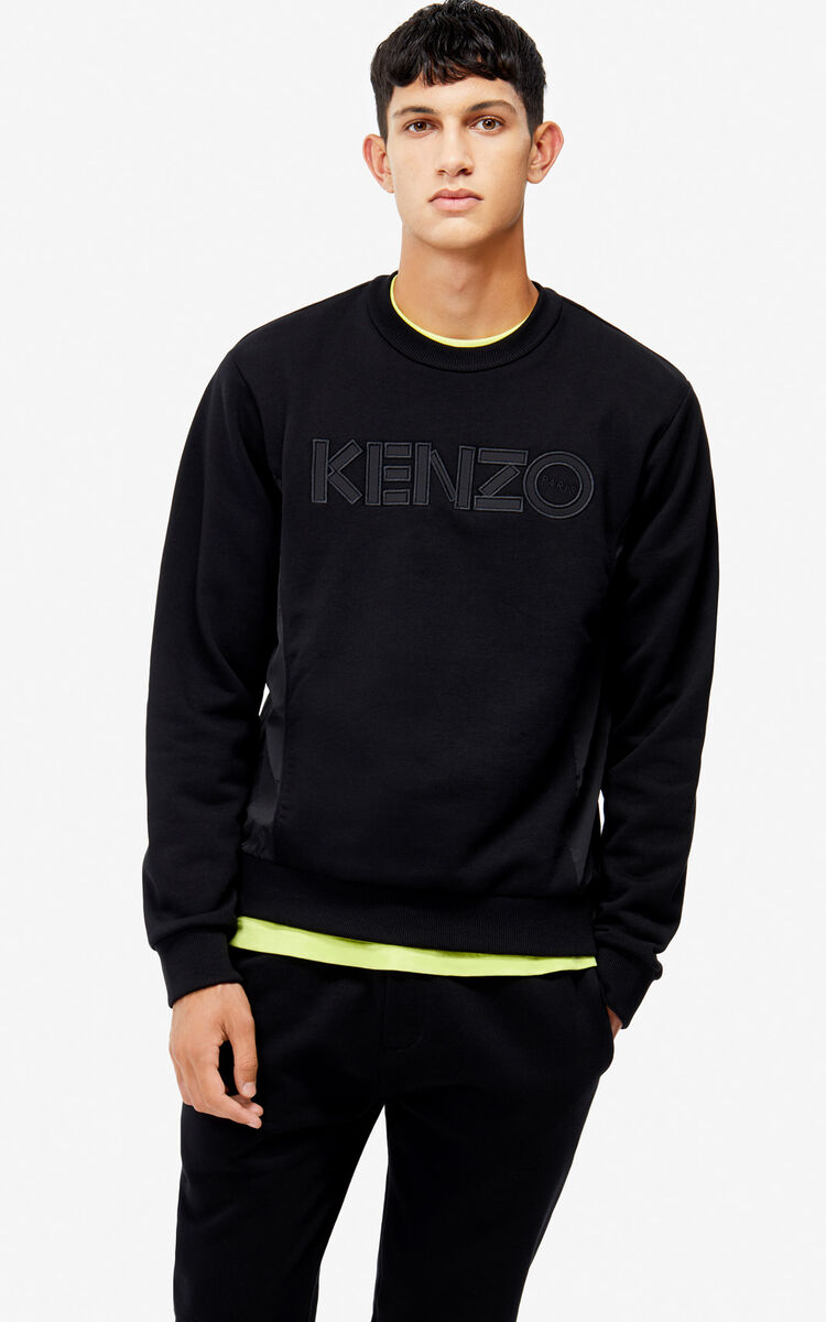 BLACK Dual material sweatshirt for men KENZO