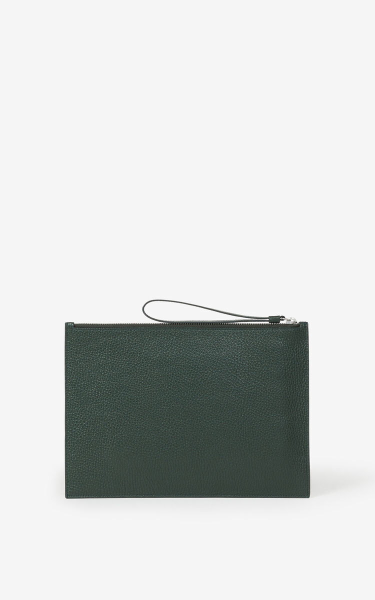 FERN KENZO Imprint large grained leather pouch for women