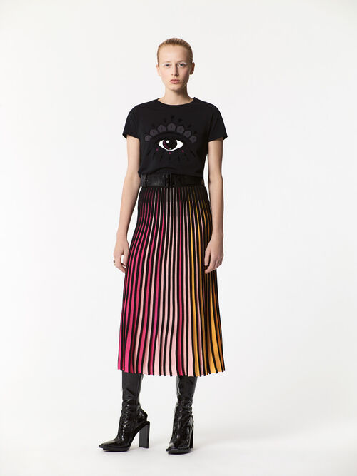 MULTICOLOR Rib-knit color block midi skirt  for women KENZO