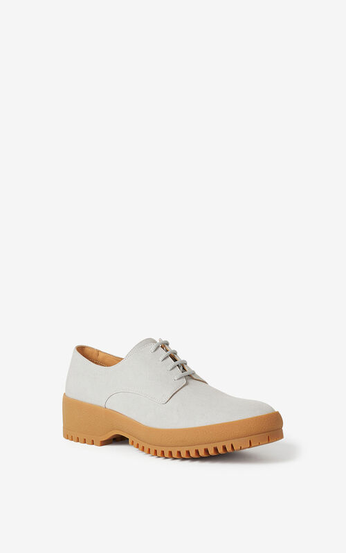 PALE GREY KENZO Trek derbies for unisex