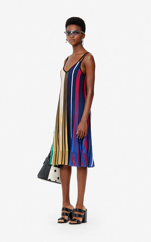 MULTICOLOR Pleated colorblock knit dress for women KENZO