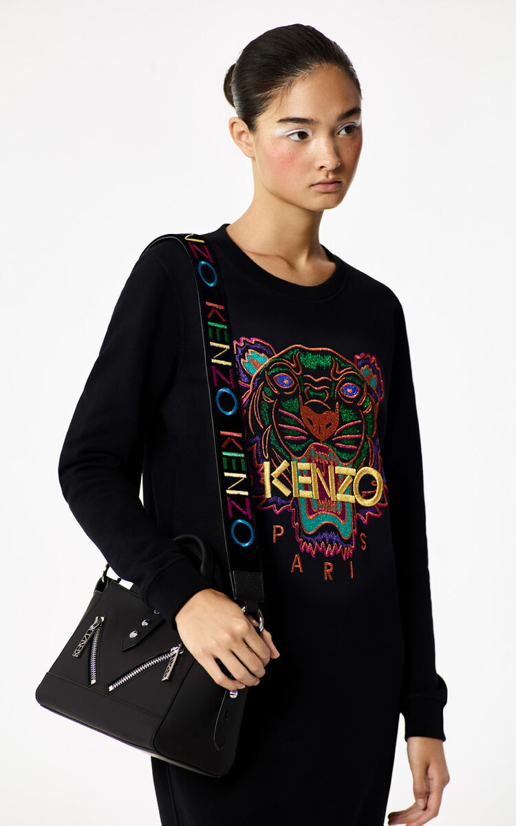 BLACK 'Holiday Capsule Collection' Tiger sweater dress for women KENZO